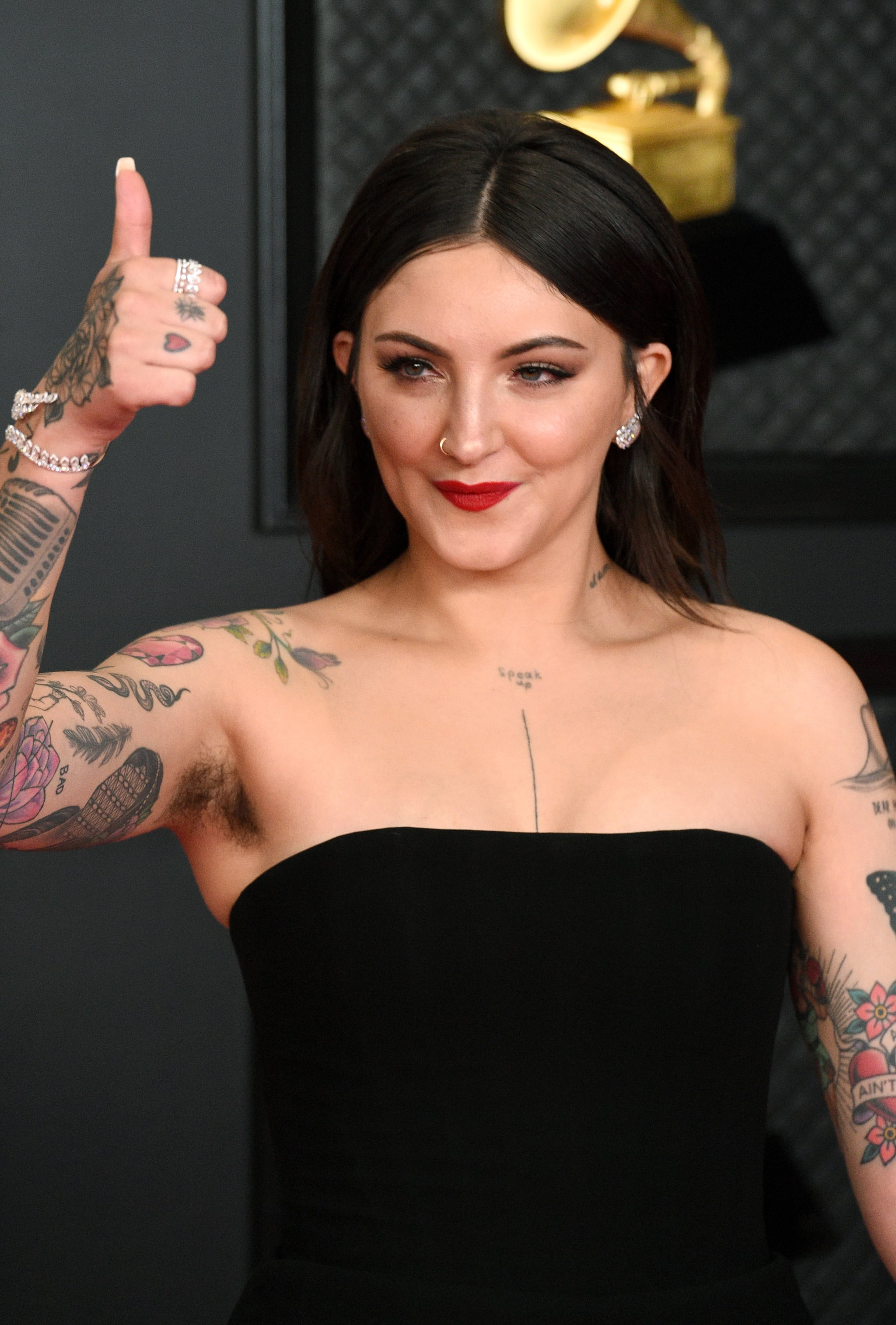 LOS ANGELES, CALIFORNIA - MARCH 14: Julia Michaels attends the 63rd Annual GRAMMY Awards at Los Angeles Convention Center on March 14, 2021 in Los Angeles, California. (Photo by Kevin Mazur/Getty Images for The Recording Academy )