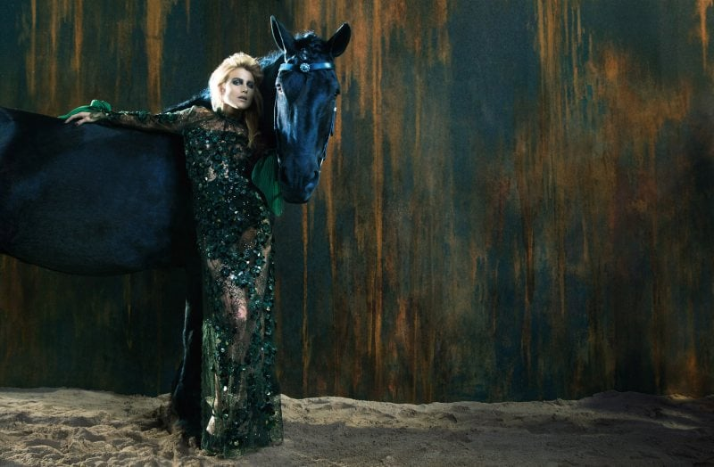 How gorgeous is this forest green gown that Dree Hemingway is wearing in Ermanno Scervino's Fall ads?