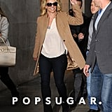 Britney Spears waved to fans.