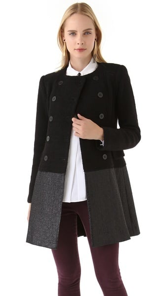I'm a sucker for a feminine coat with original details, and this Nanette Lepore frock ($628) fits the bill. — Tara Block, assistant editor