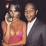 "Referring to her ample cleavage, Chrissy captioned this photo, ""John stole my f*cking golden globes caption,"" at an afterparty in January 2015."