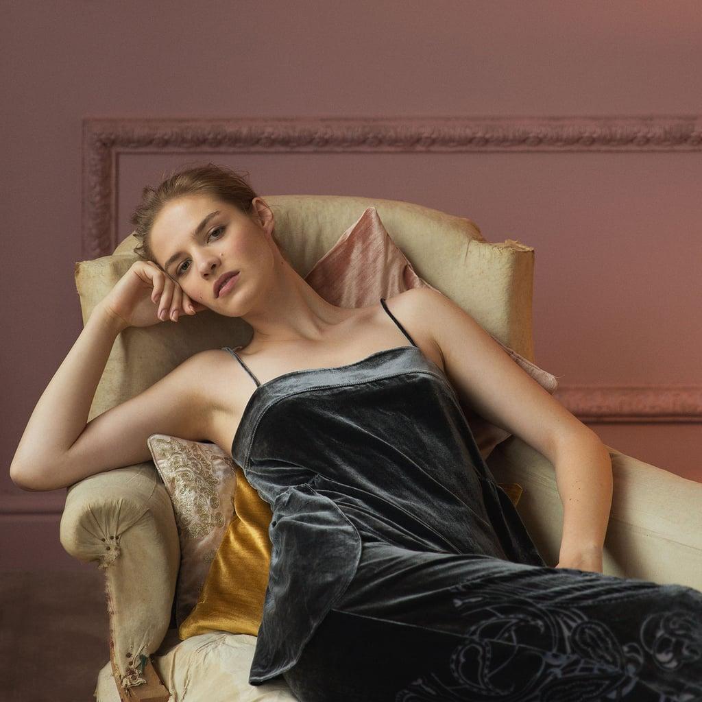 Zara Home Black Velvet Devoré Top ($70)