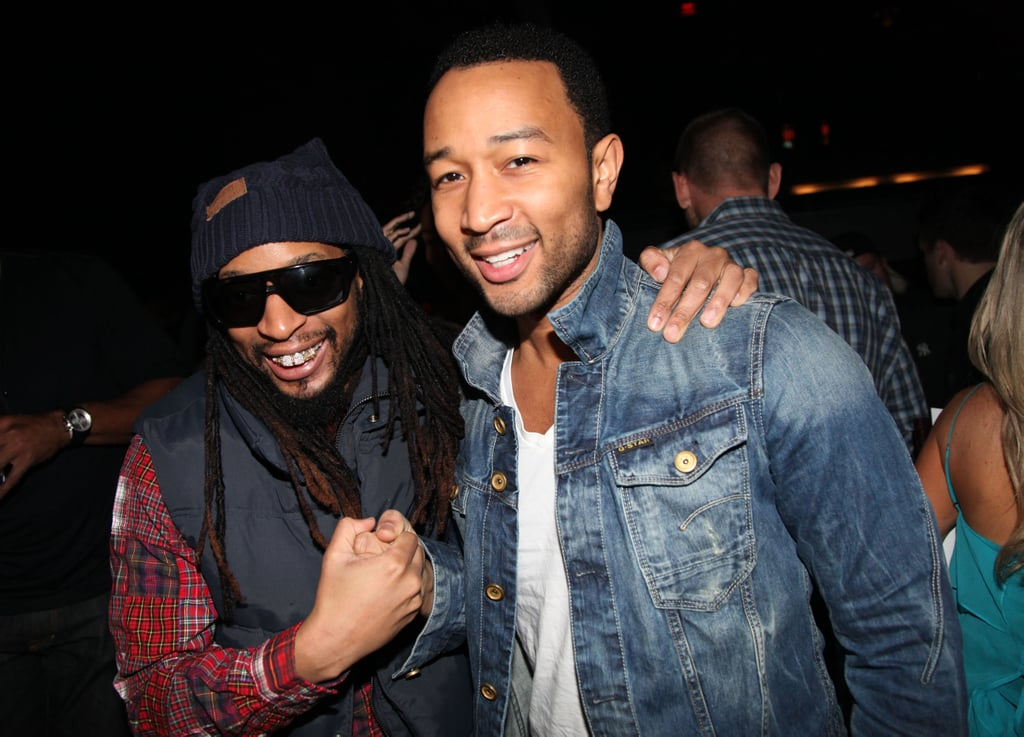 lil john and john legend celebrities at super bowl 2012