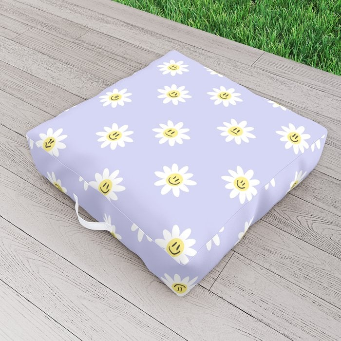 Trippy Daisy Outdoor Floor Cushion by charlyclementsillustration