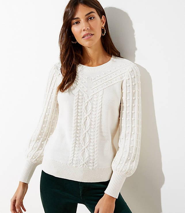 LOFT Bobble Cable Sweater