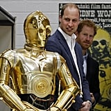 They looked on in disbelief at C-3PO during an April 2016 visit to meet the creative teams working behind the scenes on the Star Wars films.