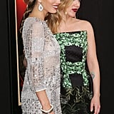 Jessica Biel and Scarlett Johansson smiled for photos.