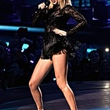 For another performance, Taylor rocked a fringed minidress with a pair of sparkly ankle boots.