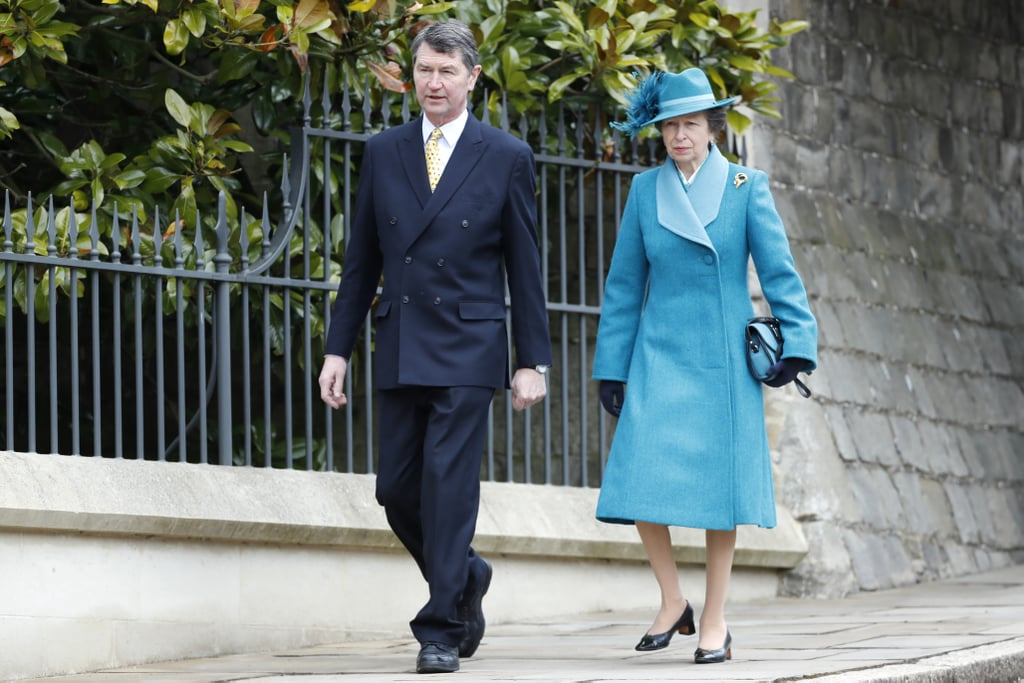 Vice Admiral Sir Timothy Laurence and Princess Anne at Easter Service at Windsor Castle in 2018
