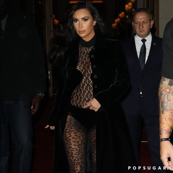 Kim Kardashian Sheer Leopard Outfit in Paris 2019