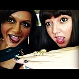 Mindy Kaling brought a friend as her date.  Source: Instagram user mindykaling