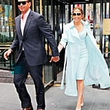 Wearing a Pastel Blue Dress and Matching Coat