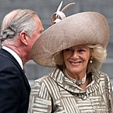 Camilla Duchess of Cornwall wore a Philip Treacy hat.