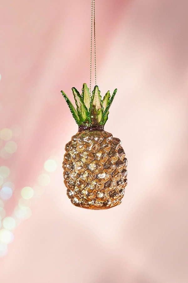 glitter pineapple christmas ornament