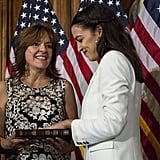 Alexandria wore gold hoops and a white suit for the mock swearing-in ceremony on Capitol Hill on Jan. 3, 2019.