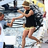 Julianne Hough hopped onto a boat in St. Bart's.
