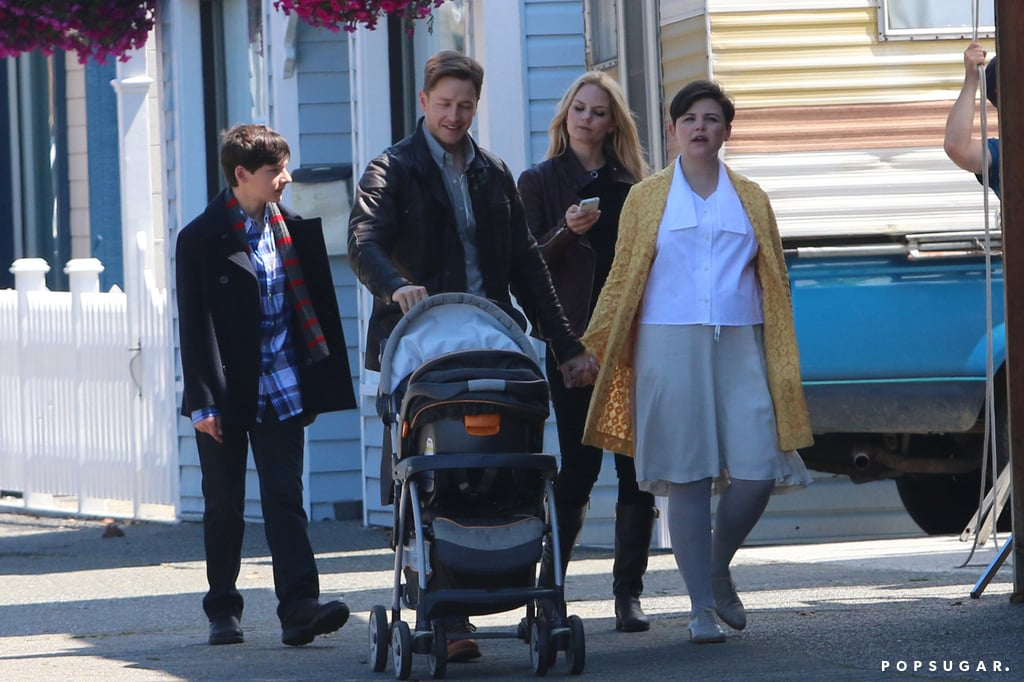 Snow White (Ginnifer Goodwin), Prince Charming (Josh Dallas), Henry (Jared Gilmore), and Emma walked together on Wednesday.