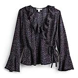 قميص كشكش ذو لفّات ثابتة وطبعة النقاط الصغيرة المتناثرة
