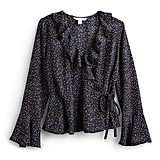 Ruffle Faux Wrap Top in Sprinkle Dots
