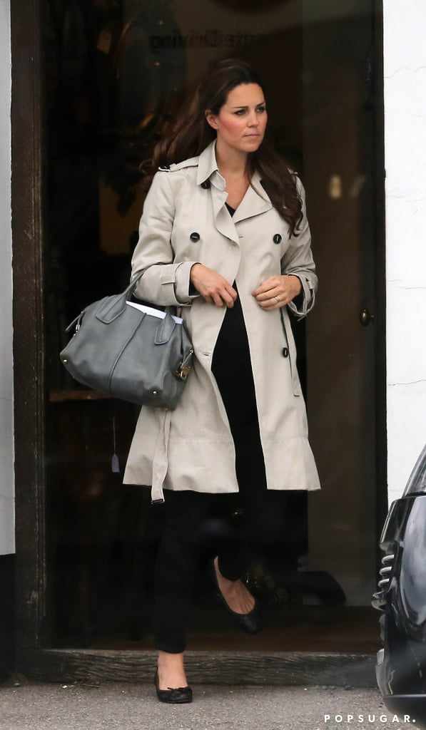 Kate Middleton stepped out for antique shopping in Hungerford, England, on Saturday. The Duchess of Cambridge's outing came as Prince William and Prince Harry attended a friend's wedding in Northumberland earlier that day. Pregnant Kate skipped out on the bash, but her sister, Pippa Middleton, Harry's current girlfriend, Cressida Bonas, and Harry's ex-girlfriend Chelsy Davy all attended the wedding. Kate stopped attending formal functions earlier this month after she made her final public appearance at the Trooping the Colour parade. She is currently on royal maternity leave as she prepares for the arrival of her baby in July. Kate Middleton has been shopping for the past few months as she prepares for her new arrival, including making a stop at the late Princess Diana's favorite children's furniture store, Dragons of Walton Street. The unborn baby, whose gender has not yet been revealed, will first be introduced to the world when an official announcement is placed at the gates of Buckingham Palace — be sure to find out more details about the royal baby's birth ahead of the little prince or princess's arrival!