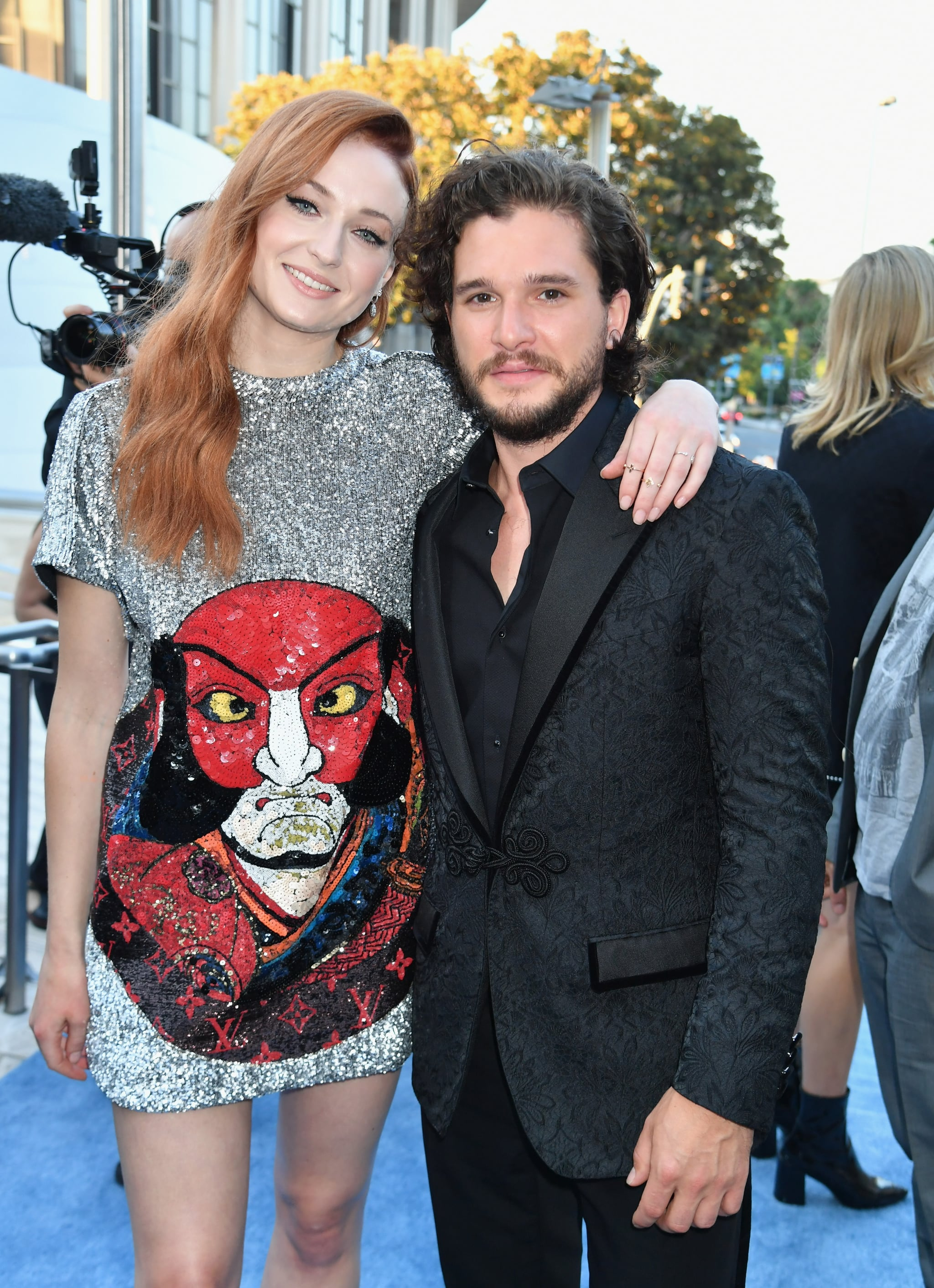 LOS ANGELES, CA - JULY 12: Actors Sophie Turner (L) and Kit Harrington at the Los Angeles Premiere for the seventh season of HBO's