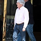 Bernie Ecclestone stepped out of the hotel earlier in the day.