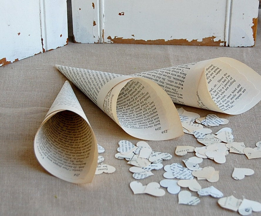 Book Page Wedding Paper Cones