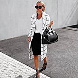 A Tee, Pencil Skirt, Statement Jacket, and Lace-Up Shoes