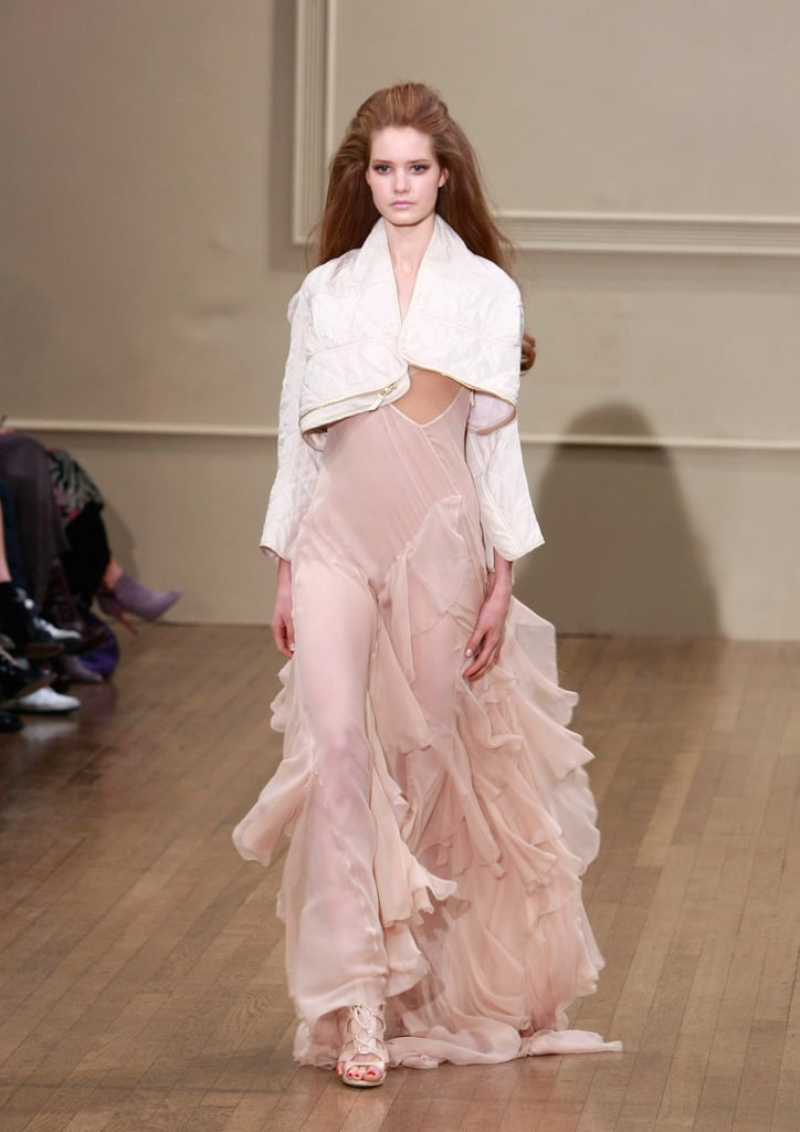 Julien Macdonald added a white cropped jacket to a diaphanous tiered ...