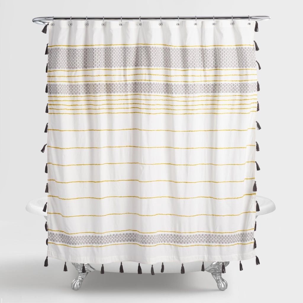 Change the vibe with an eclectic shower curtain