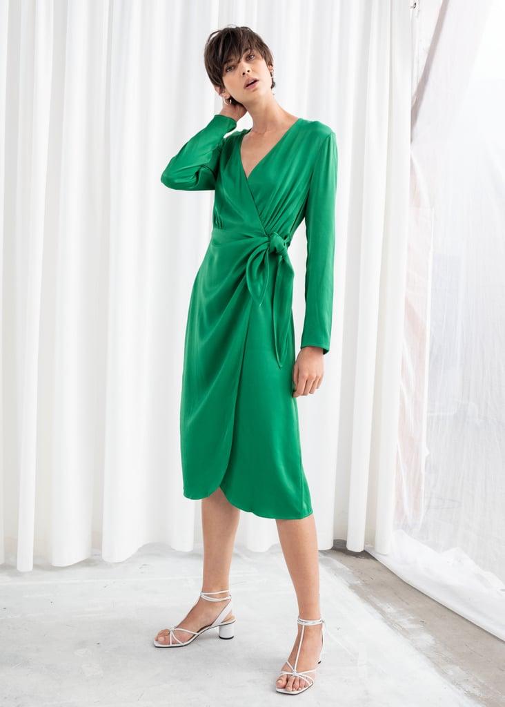 & Other Stories Satin Midi Dress