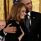 Barack hugged Gloria Steinem at the November 2013 Presidential Medal of Freedom event.