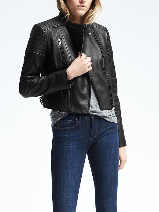 Black Leather Moto Jacket ($448)