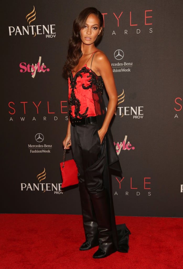 Joan Smalls worked an embroidered bustier and trousers at the Style Awards.