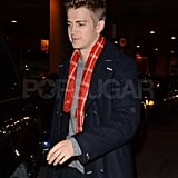 Hayden Christensen looked holiday ready in his scarf.