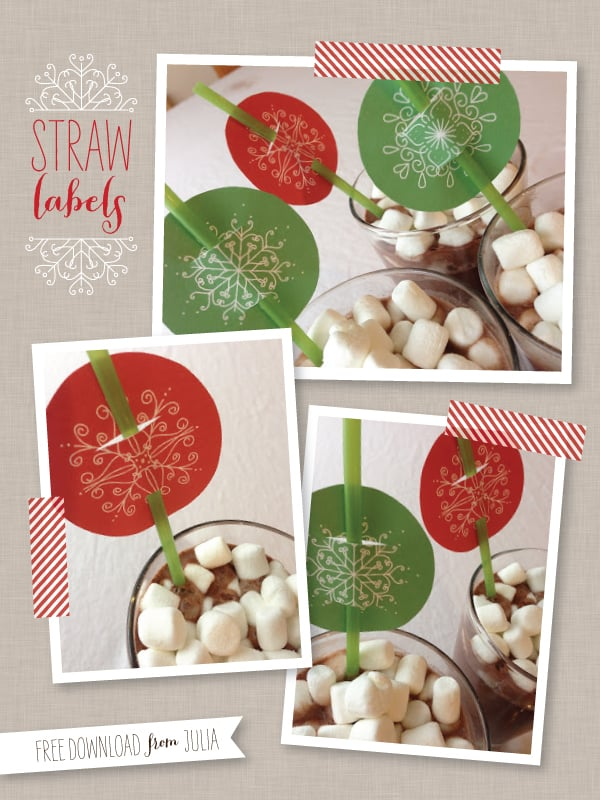 Snowflake Straw Labels
