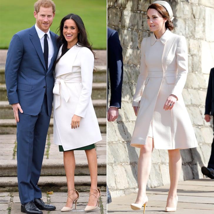 A White Coat Dress Kate Middleton And Meghan Markle