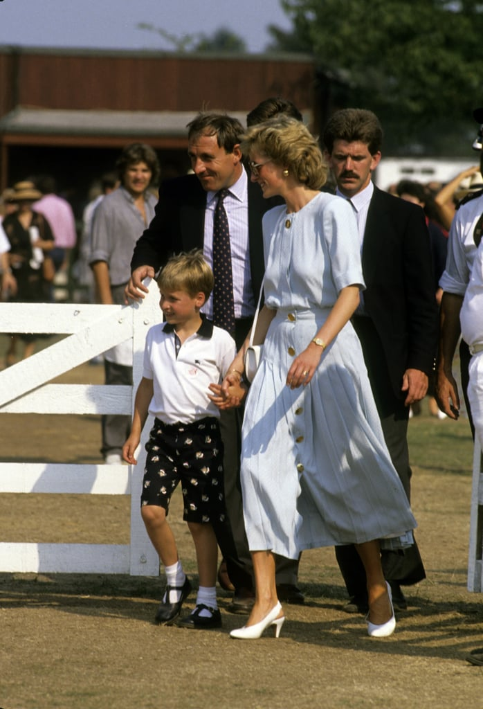 Princess Diana held onto William's hand at the Windsor polo fields in 1989.