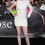 Stewart wore a crisp white asymmetrical Elie Saab mini for the LA premiere of Eclipse in June 2010.