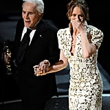 Melissa Leo was feeling overwhelmed after being presented with her best supporting actress award by Kirk Douglas.