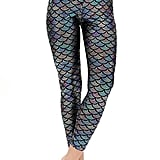 Nihoe Shiny Fish Scale Mermaid Leggings