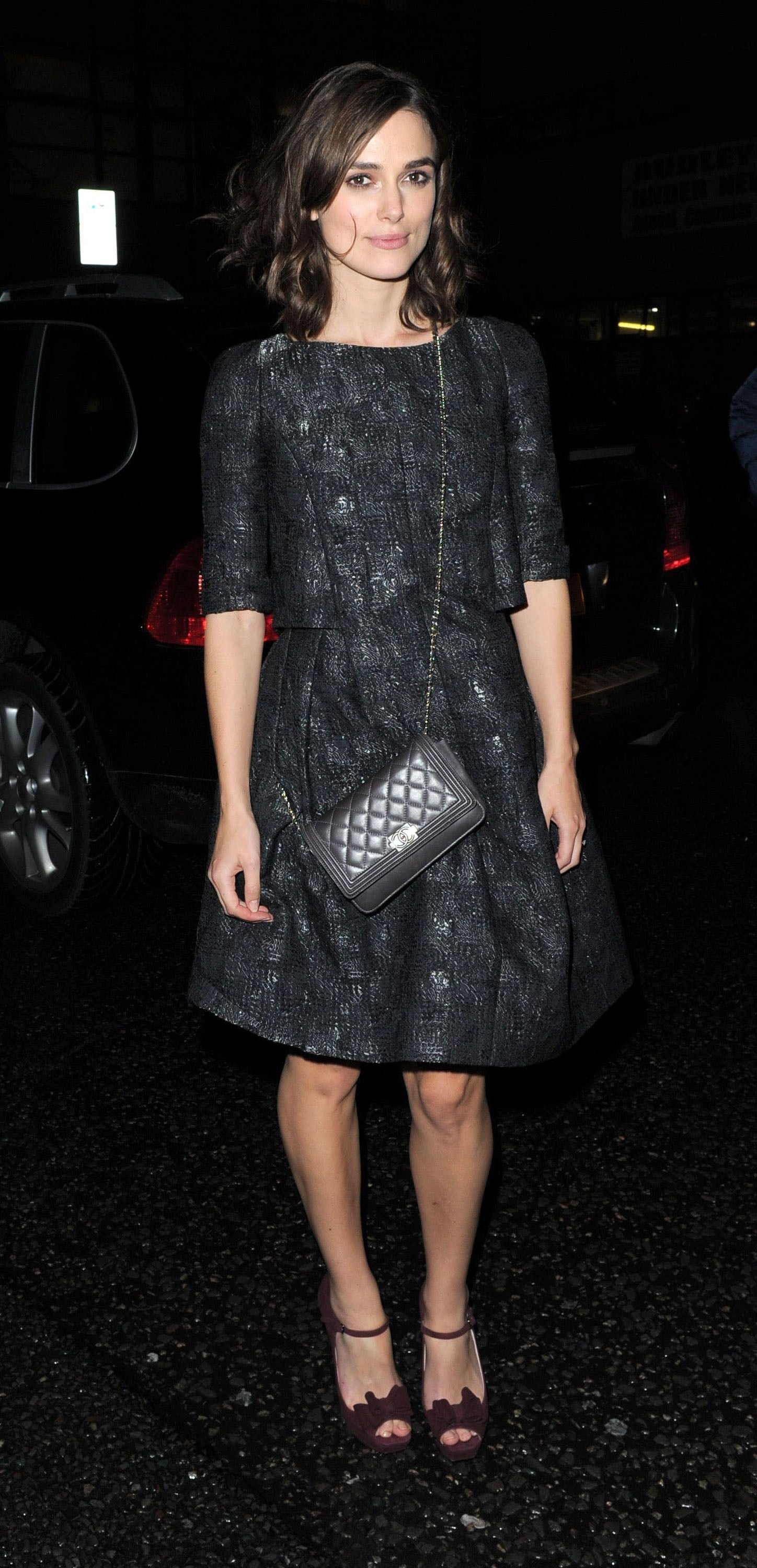 keira knightley carried a chanel bag to the fashion house 39 s private keira knightley celebrates. Black Bedroom Furniture Sets. Home Design Ideas