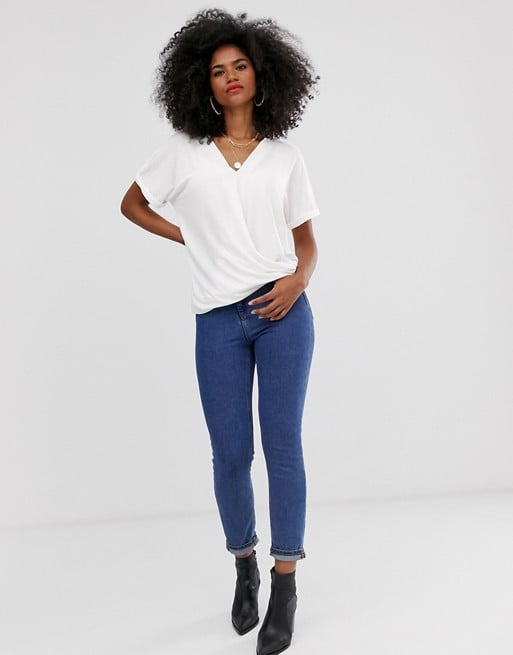 Mamalicious nursing wrap front jersey top in white | ASOS