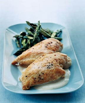 Fast & Easy Recipe For Roast Chicken With Asparagus and Tahini Sauce