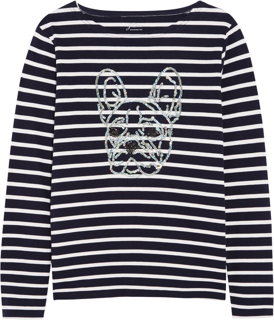 Sequin-Embellished Striped Cotton-Jersey Top ($40)
