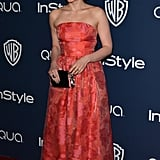 Veep's Anna Chlumsky popped up in a red strapless dress.