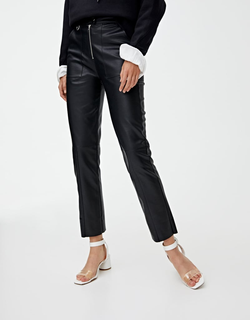 Pull&bear Zipped Faux Leather Pants