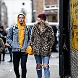 Style Your Leopard-Print Coat With: Jeans, Sneakers, and a Beanie