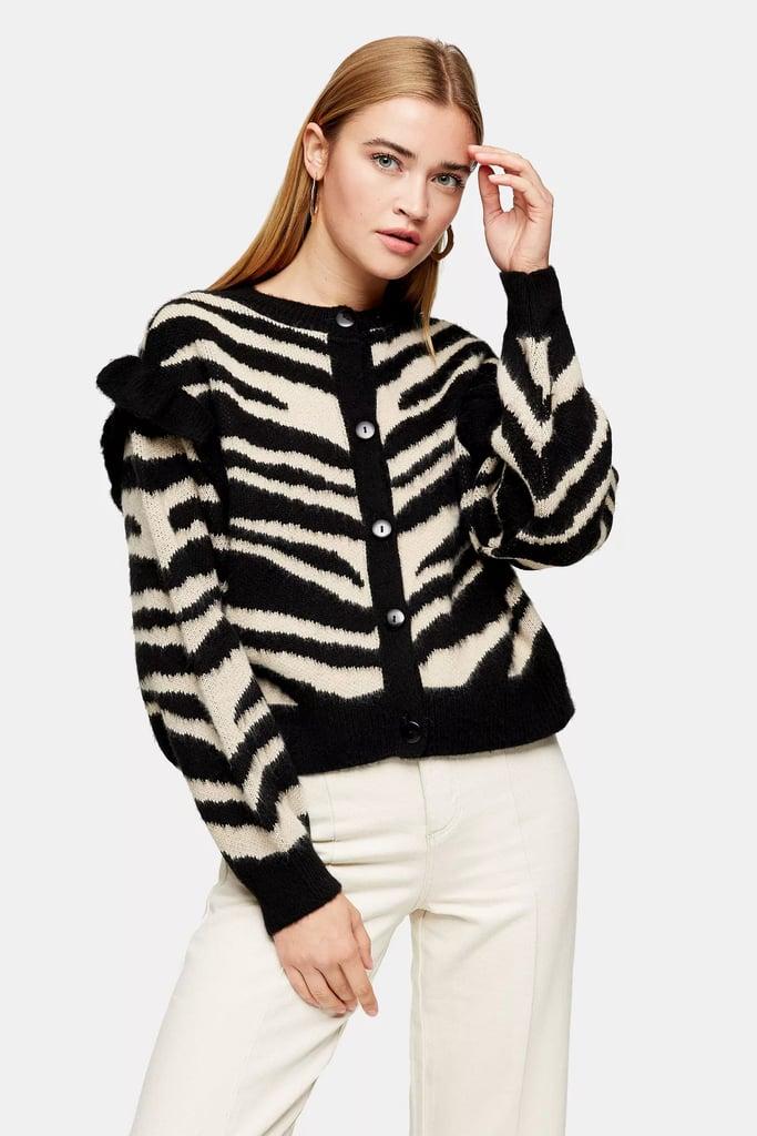 Topshop Frill Sleeve Zebra Print Cardigan