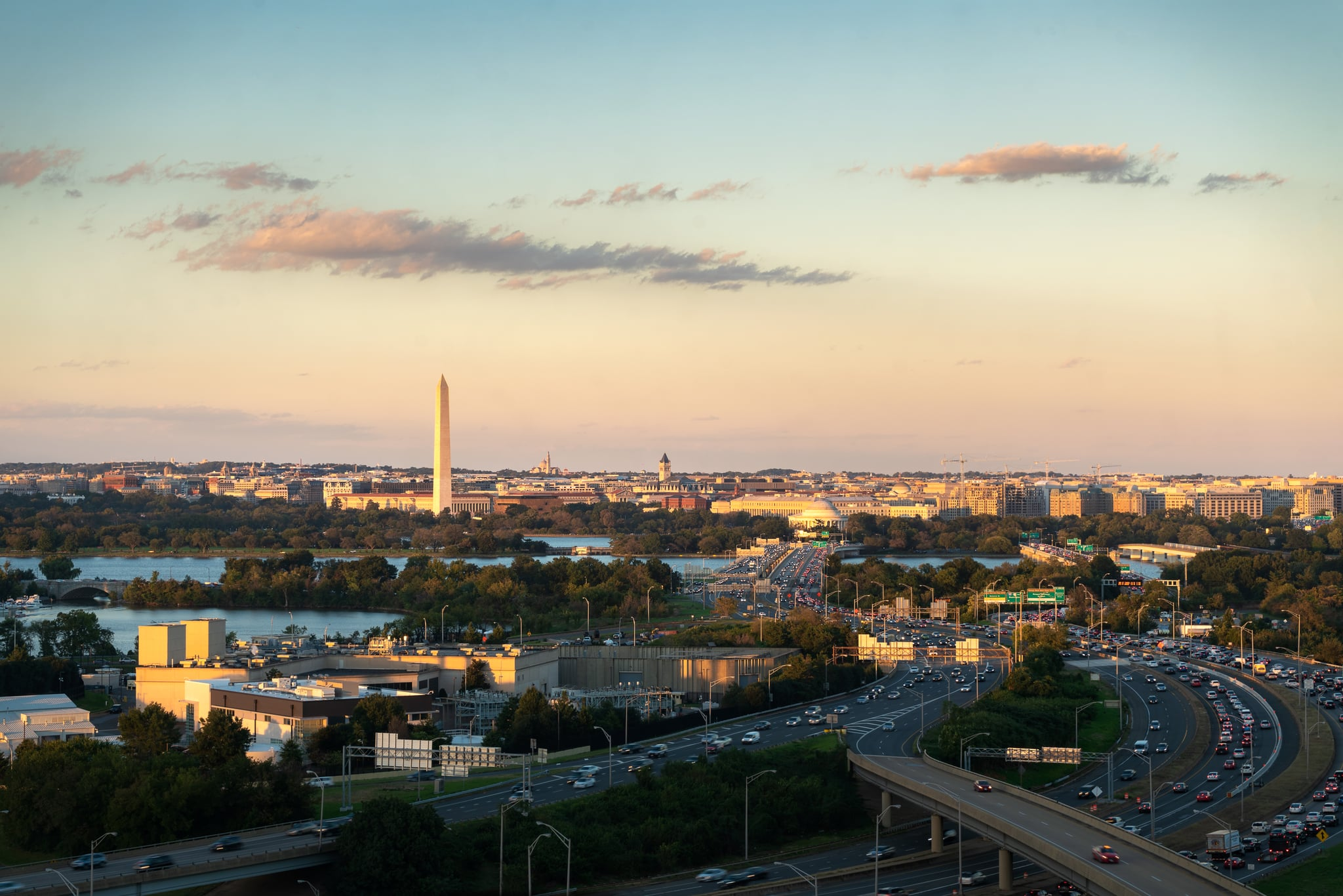 Washington D.C. skyline with highways and monuments in USA.
